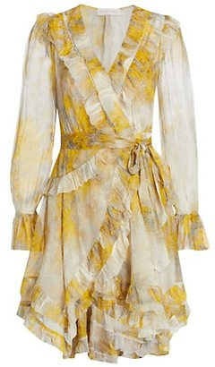 Zimmermann Wild Botanica Frill Wrap Dress