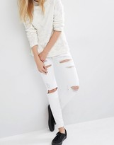 Dr. Denim Regina Mid Rise Skinny Destroyed Jeans