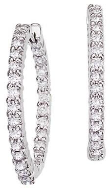 Roberto Coin 18K White Gold & Diamond Inside-Outside Small Hoop Earrings