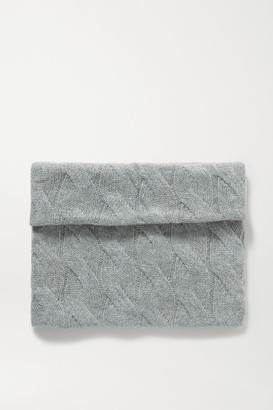 Johnstons of Elgin + Net Sustain Cable-knit Cashmere Snood - Light gray
