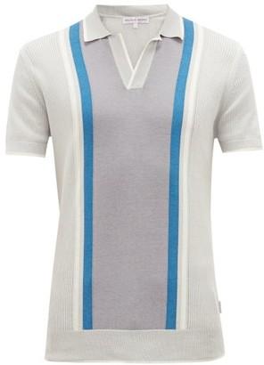 Orlebar Brown Horton Ribbed Cotton And Silk-blend Polo Shirt - Mens - Light Grey