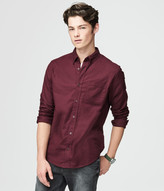 Long Sleeve Solid Stretch Oxford Woven Shirt