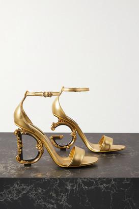 Dolce & Gabbana Embellished Leather Sandals - Gold