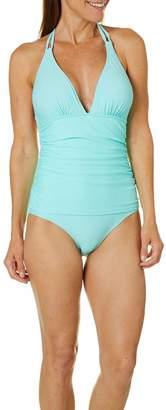 Fleet Street Ltd. Women's ONE Piece Swimsuit with MID-Body Shirring Details-Overlay