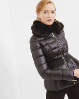 JUNNIE Faux fur collar quilted jacket
