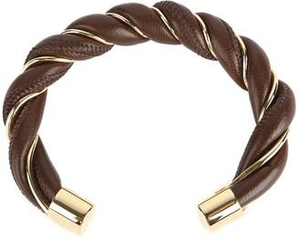 Bottega Veneta Rigid Bracelet In Silver And Nappa Leather