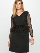 ELOQUII Plus Size Studio Feather and Lace Peplum Dress