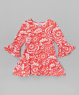 Flap Happy Red Holiday Scroll Lizzy Dress - Infant, Toddler & Girls