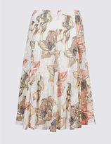 Marks and Spencer Floral Burnout Print A-Line Midi Skirt