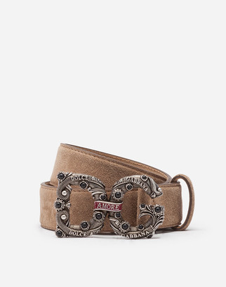 Dolce & Gabbana Suede Belt With Amore Logo