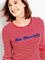 Talbots Long-sleeve Crewneck Embellished Stripe