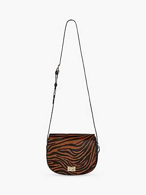 Hobbs Oxford Leather Zebra Print Saddle Bag, Brown
