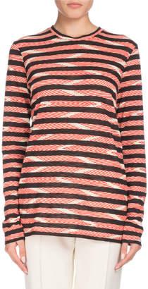 Proenza Schouler Long-Sleeve Crewneck Chevron & Stripe Cotton T-Shirt