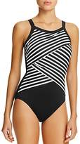 Miraclesuit New Direction Crossover Stripe One Piece Swimsuit