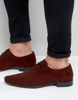 Asos Pointed Derby Shoes In Burgundy Suede