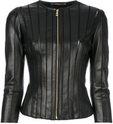 Versace panelled fitted jacket - women - Lamb Skin/Polyamide/Spandex/Elastane - 38