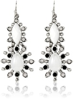 White House Black Market Black & White Flower Double Drop Earrings