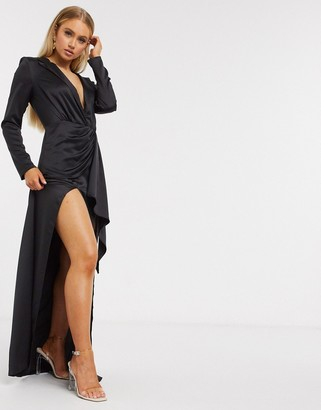 I SAW IT FIRST plunge satin maxi dress in black