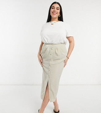 ASOS DESIGN Curve midi pencil skirt with button and pocket detail in stone