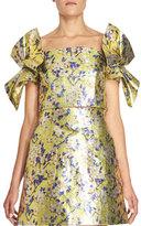 DELPOZO Metallic Floral Bow-Sleeve Crop Top