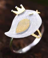 Lotus Fun Women's Earrings Ring - Sterling Silver Crowned Chick Adjustable Ring