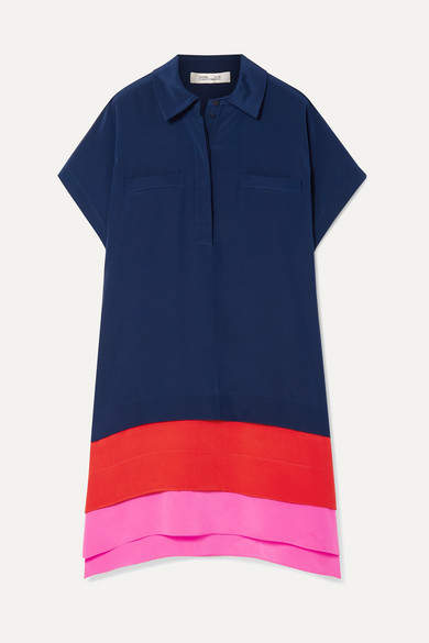 Diane von Furstenberg Hatsu Paneled Color-block Silk Crepe De Chine Mini Dress - Navy