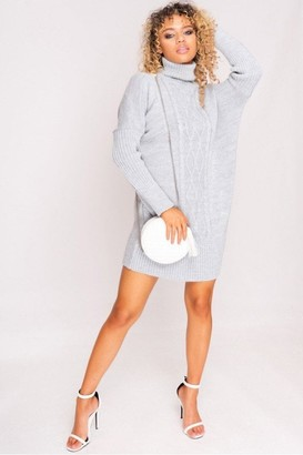 Hachu Grey Cable Knit Roll Neck Jumper Dress