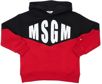 MSGM Flocked Logo Cotton Sweatshirt Hoodie