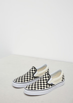 Vans black & white checkerboard / white ua classic slip-on sneaker