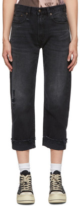 R 13 Black Stretch Boyfriend Jeans