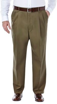 Haggar Big & Tall Premium Stretch No-Iron Khaki Pleated Pants