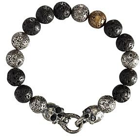 John Varvatos Collection Sterling Silver, Brass & Lava Bead Artisan Metals Bracelet