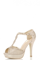 Quiz Gold Shimmer Twist Peep Toe Heels