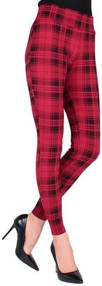 Me Moi MeMoi Women's Leggings Black/Red - Black & Red Plaid Shaping Leggings - Women