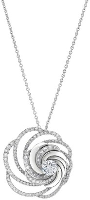 De Beers Aria 18K White Gold & Diamond Swirl Pendant Necklace