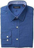 Nautica Men's Solid Houndstooth Point Collar Dress Shirt