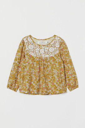 H&M Blouse with Lace Yoke - Yellow