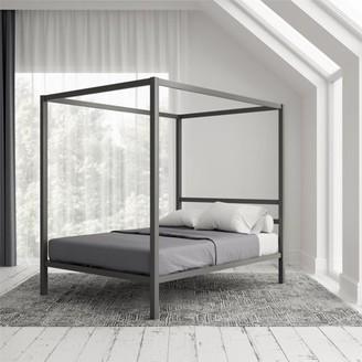 DHP Modern Canopy Gunmetal Gray Metal Bed, Queen