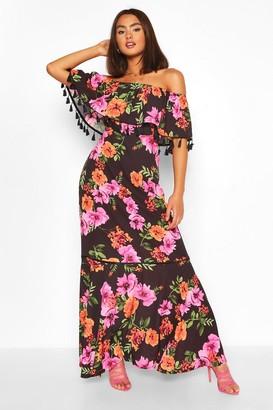 boohoo Floral Print Off The Shoulder Tassel Maxi Dress