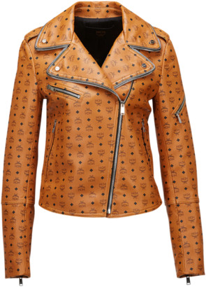 MCM Women's Visetos Print Leather Rider Jacket