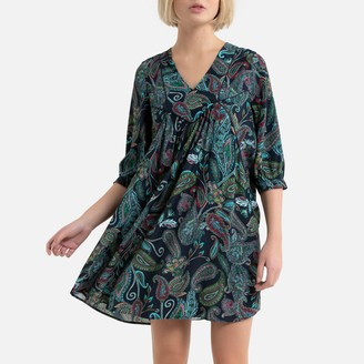 Sud Express Printed Swing Mini Dress with Long Sleeves