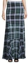 McQ by Alexander McQueen Flared Fluid Plaid Silk Maxi Skirt, Green