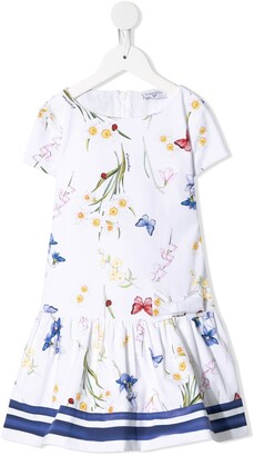 MonnaLisa Butterfly Print Dropped-Waist Dress