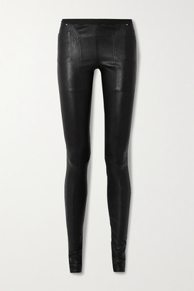 Rick Owens Stretch-leather And Cotton-blend Leggings - Black