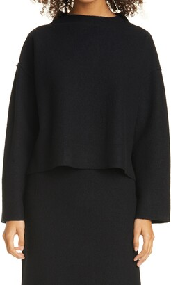 Eileen Fisher Funnel Neck Boxy Boiled Wool Sweater