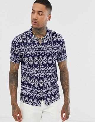 Asos Design DESIGN regular fit aztec print shirt-Blue