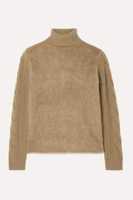Max Mara Formia Paneled Wool-blend And Knitted Turtleneck Sweater - Camel