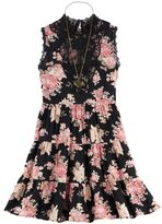 Knitworks Girls 7-16 Lace High Neck Tiered Floral Dress with Necklace