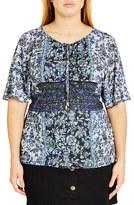 City Chic Plus Size Women's Lace-Up Boho Top