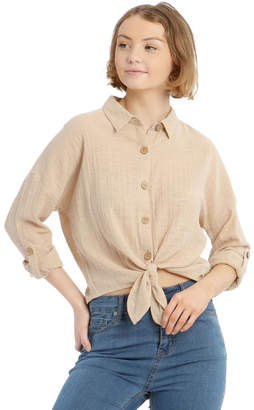 Miss Shop Tie Front Long-Sleeve Textured Shirt